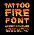 Tattoo Fire font. Flame Alphabet. Fiery letters. Burning ABC. Ho Royalty Free Stock Photo