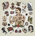 Tattoo flash set. tattoo hipster man and various tattoo images.