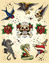 Tattoo flash vector elements set of illustrations Stock Images