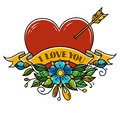 Tattoo Heart pierced with arrow. Heart decorated with flowers and ribbon. I love you. Illustration for Valentines Day. Royalty Free Stock Photo