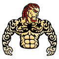 Tattoo man macho serious power and muscles mascot for sports club vector illustration Stock Photography