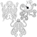 Tattoo Octopus set. Hand drawn zentangle tribal Octopuses for ad