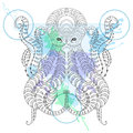 Tattoo Octopus. Zentangle stylized Hand drawn tribal Octopus in