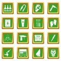 Tattoo parlor icons set green