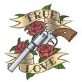 Tattoo with Revolver and Roses Royalty Free Stock Photo