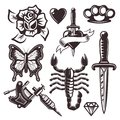 Tattoo set of vector objects and design elements Royalty Free Stock Photo