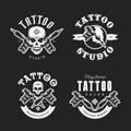 Tattoo studio emblems set. Vector vintage illustration. Royalty Free Stock Photo