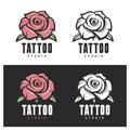 Tattoo studio rose emblem. Vector vintage illustration.