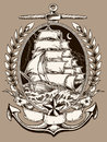 Tattoo style pirate ship in crest vector illustration of Royalty Free Stock Photos
