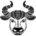 Tattoo style. Silhouette of bull isolated on white background. Zodiac sign Taurus. Abstract background.
