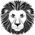 Tattoo style. Silhouette of lion isolated on white background. Zodiac sign leo. Abstract background.