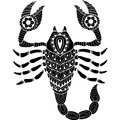 Tattoo style. Silhouette of scorpion isolated on white background. Zodiac sign scorpio. Abstract background.