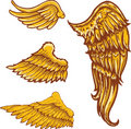 Tattoo style vector wings illustrations collection Royalty Free Stock Photos