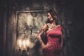Tattooed woman in spooky interior beautiful old Stock Images