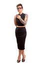 Tattooed woman studio shot of a young Royalty Free Stock Images