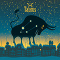 Taurus sign in the starry sky night city Royalty Free Stock Photos