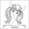 Taurus. A young beautiful girl In the form of one of the signs