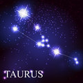 Taurus zodiac sign of the beautiful bright stars vector on background cosmic sky Stock Photos