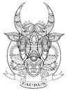 Taurus zodiac sign coloring book for adults vector Royalty Free Stock Photo