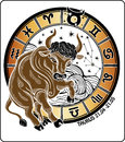 Taurus and the zodiac sign.Horoscope circle. Vecto Royalty Free Stock Photo