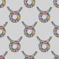 Taurus zodiac sign seamless pattern. Horoscope magic symbol background. Hand drawn astrological colorful texture for wallpa Royalty Free Stock Photo