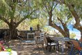 Tavern at the beach extraordinary from lentas on crete Royalty Free Stock Photos