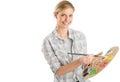 Tavolozza femminile di with paintbrush and dell artista Immagine Stock