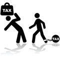 Tax burden concept illustration showing a man carrying a weight with the word on it Royalty Free Stock Images