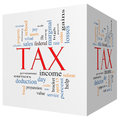 Tax d cube word cloud concept angled with great terms such as rate federal state income codes and more Stock Photo