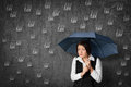 Tax fear accountant woman has of the worried businesswoman hide under umbrella against raining Stock Images