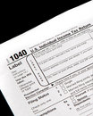 Tax forms on black background Stock Photo