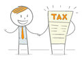 Tax free doodle stick figure handshaking a character Stock Images