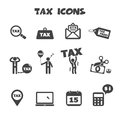 Tax icons mono vector symbols Royalty Free Stock Photos