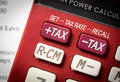 Tax increase on financial calculator Royalty Free Stock Photos