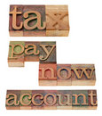 Tax, pay now, account - words Stock Photography