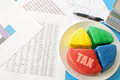 Tax pie chart Royalty Free Stock Photo