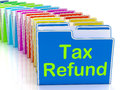 Tax refund folders show refunding taxes paid showing Stock Photography