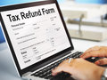 Tax Refund Form Document Graphic Concept Royalty Free Stock Photo