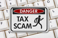 Tax scam danger sign Royalty Free Stock Photo