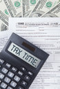 Tax time words on the calculator Royalty Free Stock Photo