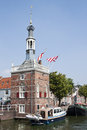 The tax tower in alkmaar the netherlands accijnstoren meaning is a dutch town of built all imported goods must be presented to Royalty Free Stock Images