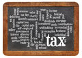 Tax word cloud on blackboard of words or tags related to paying taxes a vintage slate Stock Photo