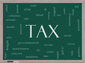 Tax Word Cloud Concept on a Blackboard Stock Photography