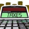 Taxes calculator means taxation of income meaning and earnings Stock Photo