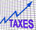 Taxes chart graph shows increasing tax or taxation showing Royalty Free Stock Photos