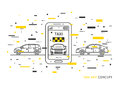 Taxi application on mobile phone vector illustration