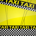 Taxi background cab with black and white checks on yellow Stock Images
