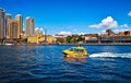 A taxi boat cross the harbour of Sydney Stock Images