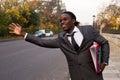 Taxi a business man hailing a Royalty Free Stock Photos