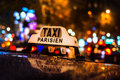Taxi Cabs at the Champs Elysees in Paris, France